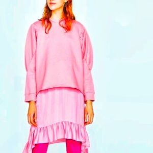 Zara pink long sleeves sweatshirt/ top